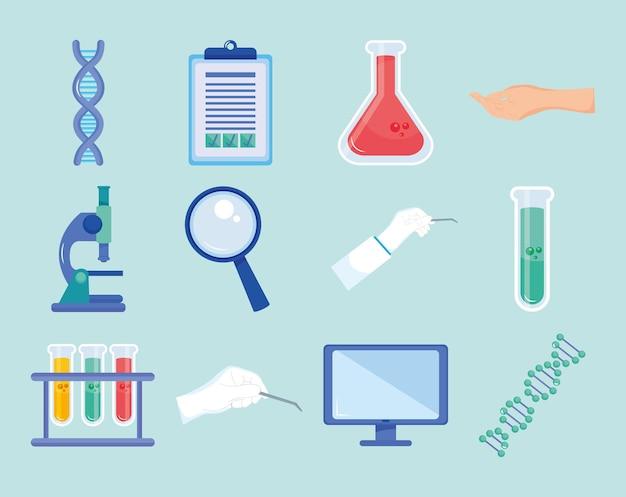 Conjunto de iconos de ingeniería genética