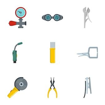 Conjunto de iconos de ingeniería sanitaria, estilo de dibujos animados