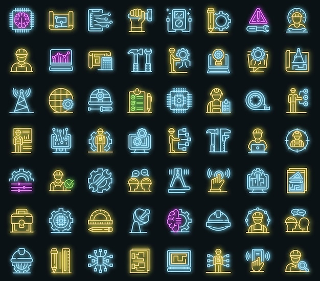 Conjunto de iconos de ingeniero de comunicaciones. esquema conjunto de iconos de vector de ingeniero de comunicaciones color neón en negro