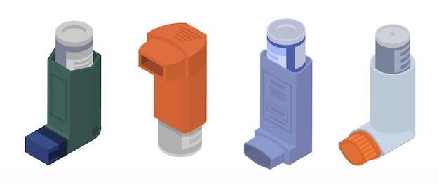Conjunto de iconos de inhalador, estilo isométrico