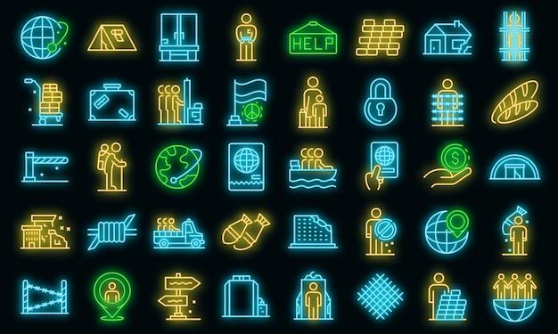 Conjunto de iconos de inmigrantes ilegales. esquema conjunto de iconos vectoriales de inmigrantes ilegales color neón en negro