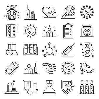 Conjunto de iconos de inmunización, estilo de contorno