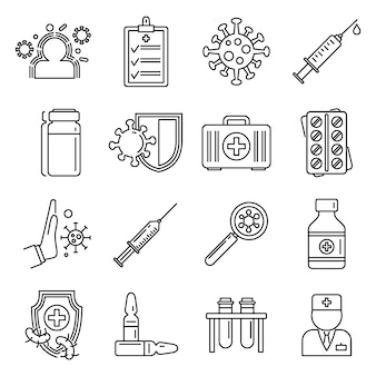 Conjunto de iconos de inmunización médica, estilo de contorno
