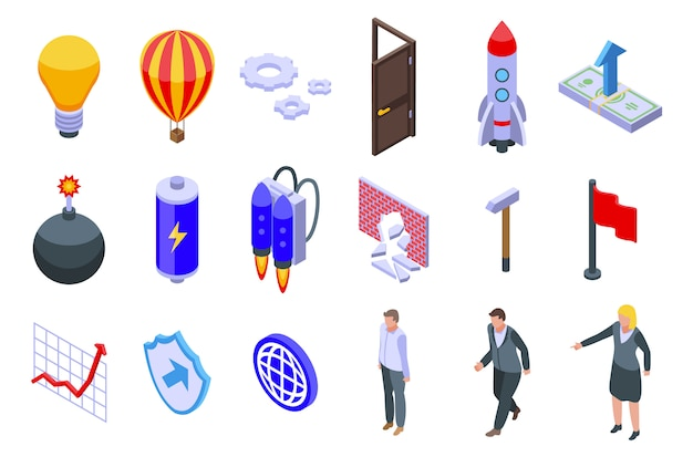 Conjunto de iconos innovadores, estilo isométrico