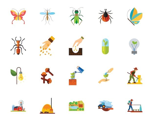 Conjunto de iconos de insectos y agricultura