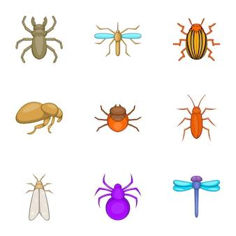 Conjunto de iconos de insectos, estilo de dibujos animados