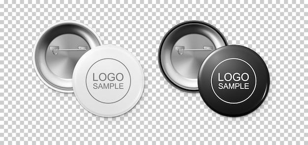 Conjunto de iconos de insignia de botón blanco y negro realista aislado sobre fondo transparente. vista frontal y posterior. plantilla de diseño vectorial para la marca, publicidad, etc. ilustración de eps10, maqueta.