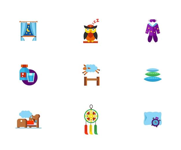 Conjunto de iconos de insomnio