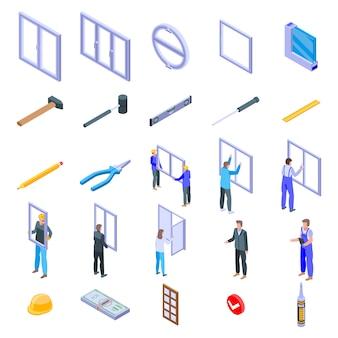 Conjunto de iconos de instalación de ventanas, estilo isométrico