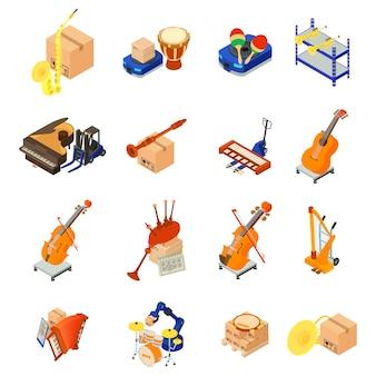 Conjunto de iconos de instrumento musical de entrega