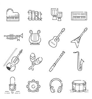 Conjunto de iconos de instrumentos musicales con estilo de contorno