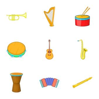 Conjunto de iconos de instrumentos musicales, estilo de dibujos animados