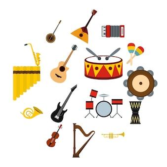 Conjunto de iconos de instrumentos musicales, estilo plano