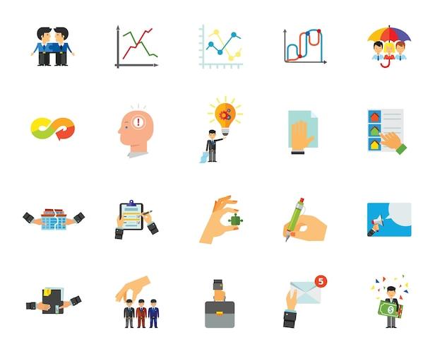Conjunto de iconos de interacción empresarial