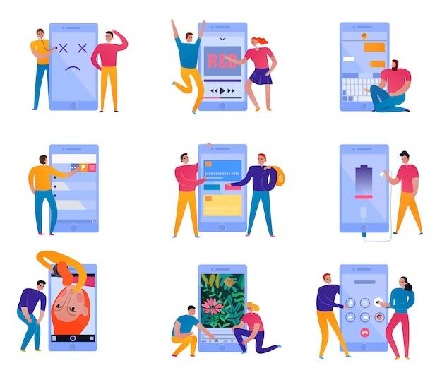 Conjunto de iconos de interacción telefónica