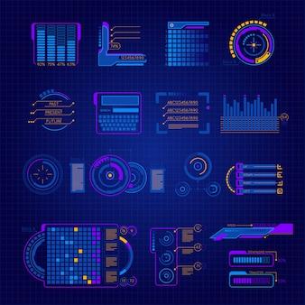 Conjunto de iconos de interfaz futuro abstracto