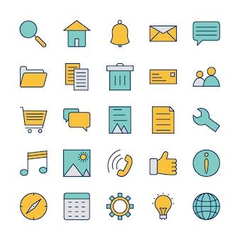 Conjunto de iconos de interfaz de usuario básica para uso personal y comercial