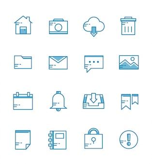 Conjunto de iconos de interfaz de usuario con estilo de contorno