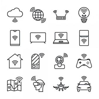 Conjunto de iconos de internet de las cosas.