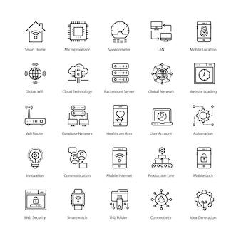 Conjunto de iconos de internet de las cosas