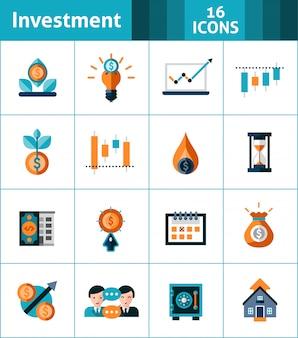 Conjunto de iconos de inversión