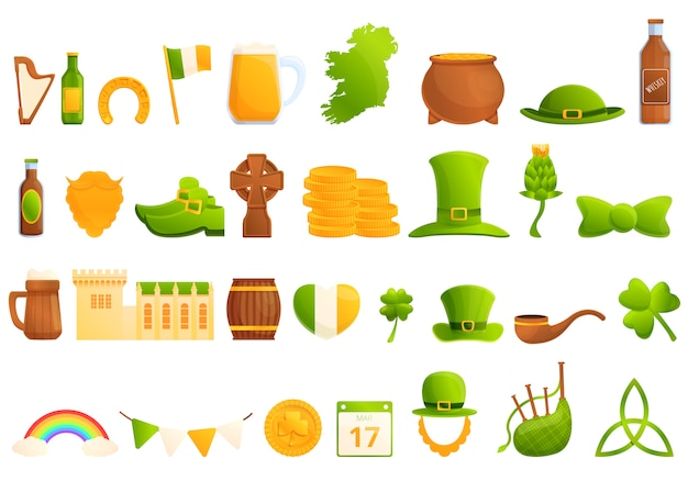 Conjunto de iconos de irlanda, estilo de dibujos animados