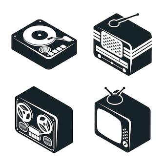 Conjunto de iconos isométricos 3d de dispositivos multimedia retro en color blanco y negro sobre fondo blanco.