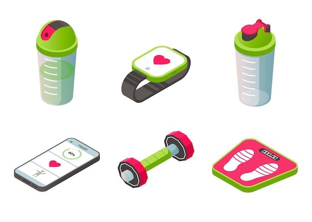 Conjunto de iconos isométricos accesorios portátiles de deporte