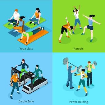Conjunto de iconos isométricos aeróbicos de fitness