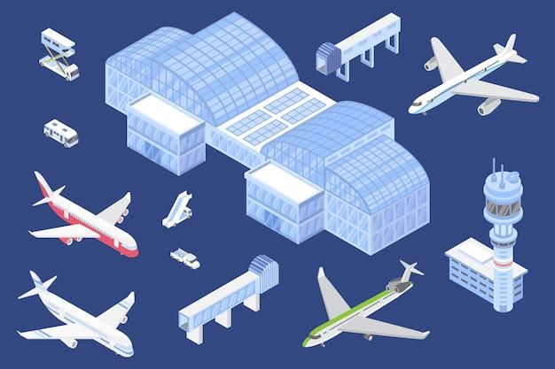 Conjunto de iconos isométricos de aeropuerto, ilustración con aviones aislados y equipo especial para terminal de aeropuerto para diseño o juego.