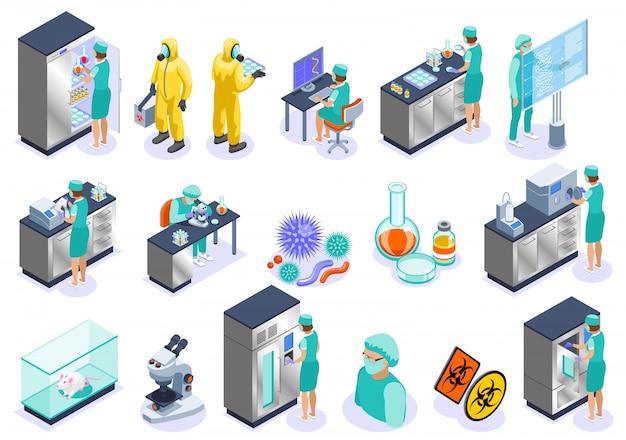 Conjunto de iconos isométricos aislados de microbiología con laboratorio de microscopio de empleadores de ciencia e ilustración de bioquímica