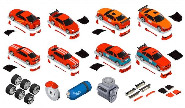 Conjunto de iconos isométricos de ajuste del automóvil para mejorar las ruedas, llantas, neumáticos, contenedor de gas de óxido nitroso, desbloqueo del kit de carrocería
