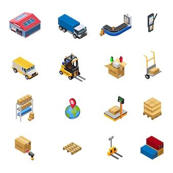 Conjunto de iconos isométricos de almacén