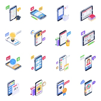 Conjunto de iconos isométricos de aplicaciones de aprendizaje móvil