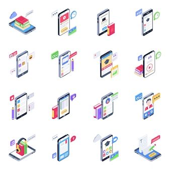 Conjunto de iconos isométricos de aprendizaje móvil