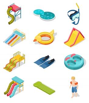 Conjunto de iconos isométricos de aqua park