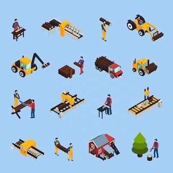 Conjunto de iconos isométricos de aserradero