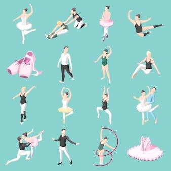 Conjunto de iconos isométricos de ballet de bailarinas de parejas bailarinas en poses de baile y ejercicios de entrenamiento
