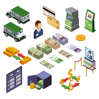 Conjunto de iconos isométricos de banca