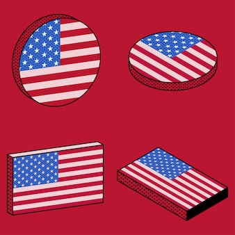 Conjunto de iconos isométricos de bandera de estados unidos en estilo retro