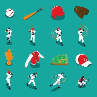 Conjunto de iconos isométricos de béisbol