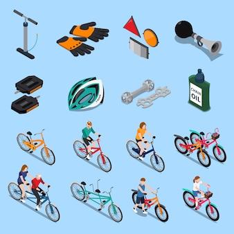 Conjunto de iconos isométricos de bicicleta
