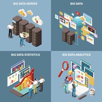 Conjunto de iconos isométricos de big data analytics con estadísticas de servidor y descripciones de análisis.