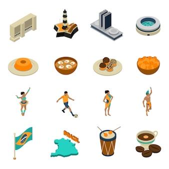 Conjunto de iconos isométricos de brasil