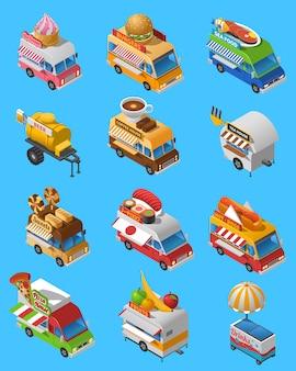 Conjunto de iconos isométricos de camiones de comida en la calle