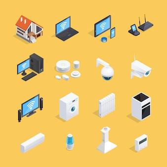 Conjunto de iconos isométricos casa inteligente