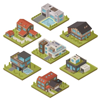 Conjunto de iconos isométricos de la casa