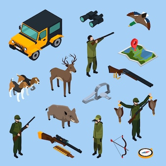 Conjunto de iconos isométricos de caza
