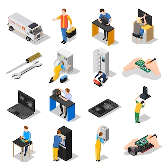 Conjunto de iconos isométricos de centro de servicio