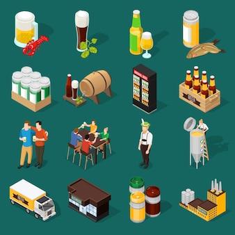 Conjunto de iconos isométricos de cerveza